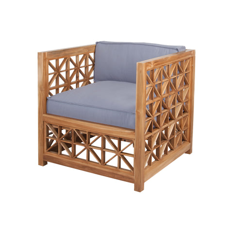 Beautiful GuildMaster  Vincent Lattice Outdoor Chair in Euro Teak Oil with set of 2 Outdoor Gray Cushions  in  Teak, Acrylic Fabric
