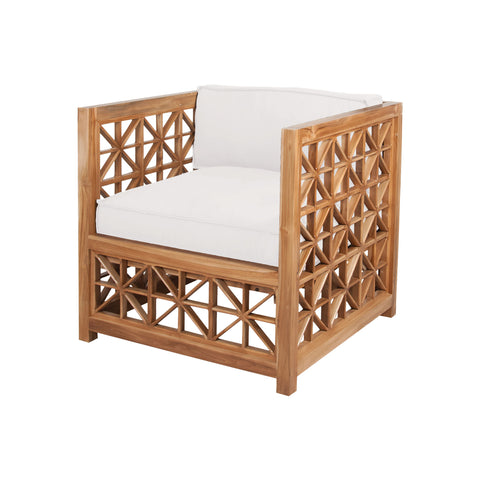 Beautiful GuildMaster  Vincent Lattice Outdoor Chair in Euro Teak Oil with set of 2 Outdoor White Cushions  in  Teak, Acrylic Fabric