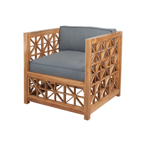 Beautiful GuildMaster  Vincent Lattice Outdoor Chair in Euro Teak Oil  in  Teak Wood