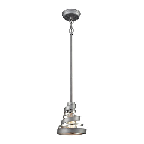 Zabrina 1 Light Pendant In Weathered Zinc And Polished Nickel - Includes Recessed Lighting Kit