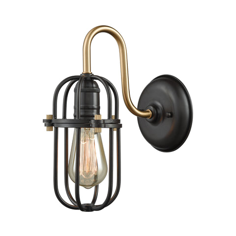 Binghamton 1 Light Wall Sconce In Oil Rubbed Bronze And Satin Brass