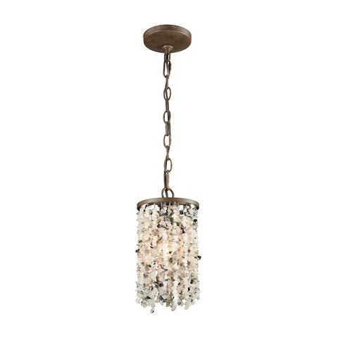 Agate Stones 1 Light Pendant In Weathered Bronze With Gray Agate Stones - Includes Recessed Lighting Kit