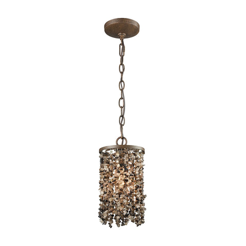 Agate Stones 1 Light Pendant In Weathered Bronze With Dark Bronze Agate Stones - Includes Recessed Lighting Kit