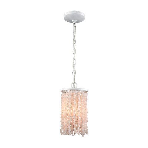 Agate Stones 1 Light Pendant In Off White With White And Pink Agate Stones - Includes Recessed Lighting Kit