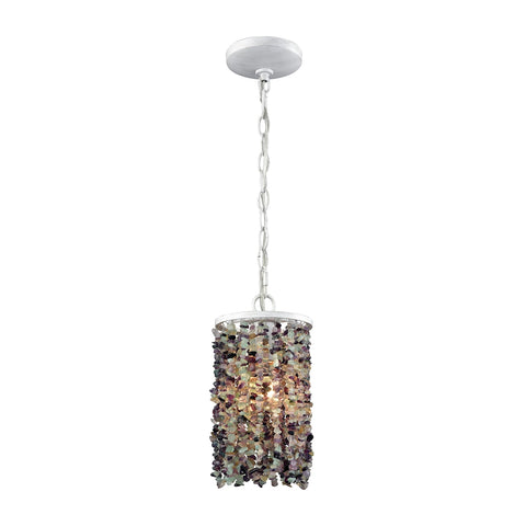 Agate Stones 1 Light Pendant In Off White With Purple Agate Stones - Includes Recessed Lighting Kit