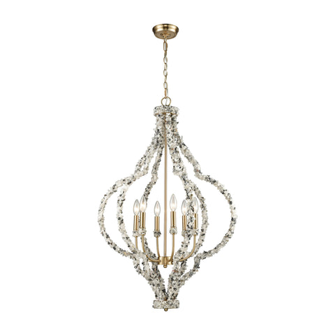 Agate Stones 6 Light Chandelier In Satin Brass With Agate Stone Wrapped Frame