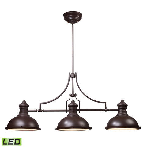 Elk Chadwick 3 Light LED Billiard In Oiled Bronze Billiard/Island item number 66135-3-LED