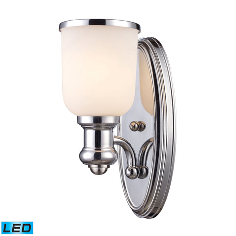 Brooksdale 1 Light LED Wall Sconce In Polished Chrome And White Glass