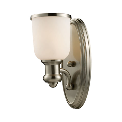 Brooksdale 1 Light Wall Sconce In Satin Nickel And White Glass