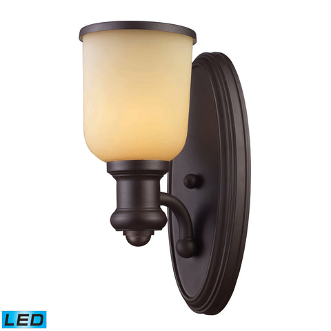 Brooksdale 1 Light LED Wall Sconce In Oiled Bronze And Amber Glass
