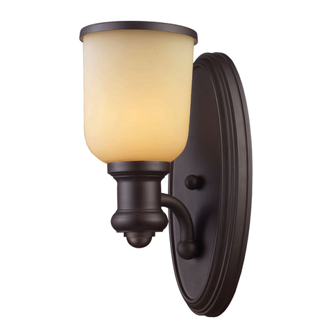Brooksdale 1 Light Wall Sconce In Oiled Bronze And Amber Glass