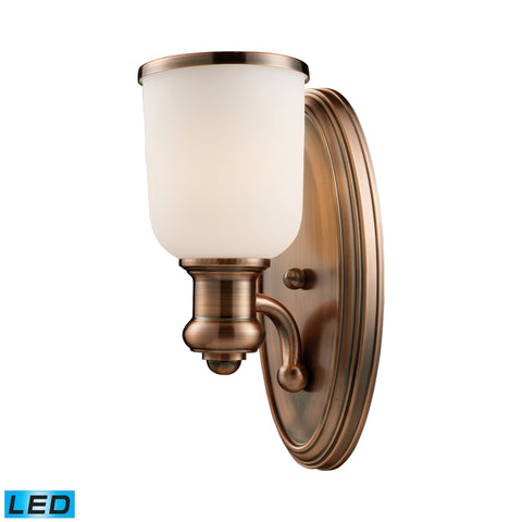 Brooksdale 1 Light LED Wall Sconce In Antique Copper And White Glass