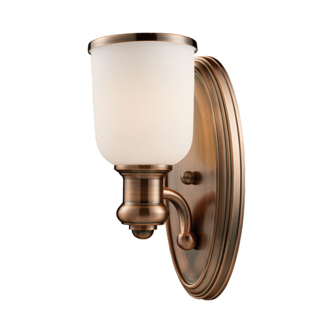 Brooksdale 1 Light Wall Sconce In Antique Copper And White Glass