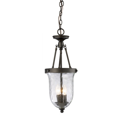 Yorkville 3 Light Pendant In Oiled Bronze And Water Glass