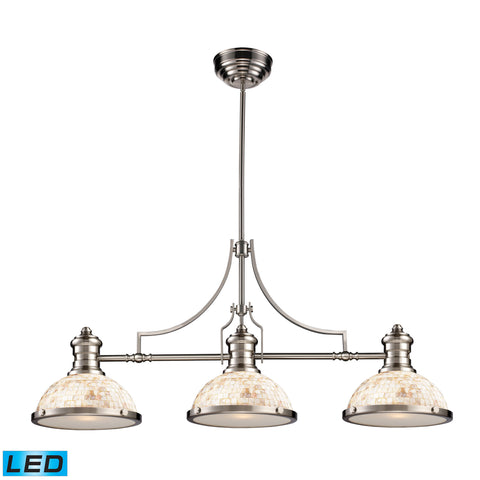 Elk Chadwick 3 Light LED Billiard In Satin Nickel And Cappa Shells Billiard/Island item number 66425-3-LED