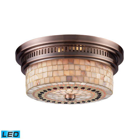 Chadwick 2 Light LED Flushmount In Antique Copper And Cappa Shells