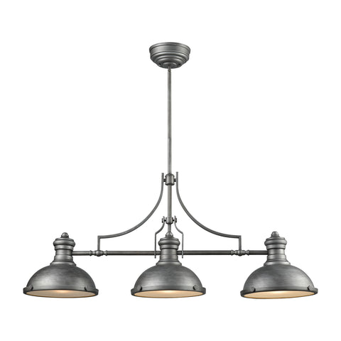 Elk Chadwick 3 Light Island In Weathered Zinc With Frosted Glass Diffusers Billiard/Island item number 66585-3