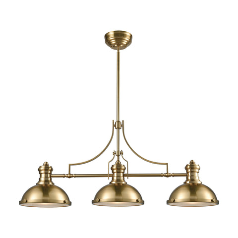 Elk Chadwick 3 Light Island In Satin Brass With Frosted Glass Diffusers Billiard/Island item number 66595-3