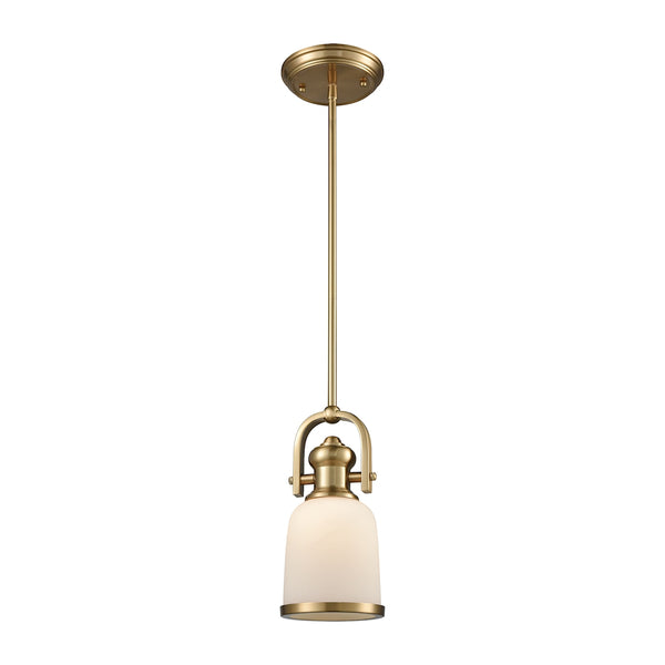 Brooksdale 1 Light Pendant In Satin Brass With White Glass - Includes Recessed Lighting Kit