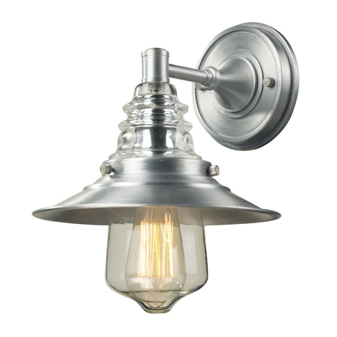 Elk Insulator Glass 1 Light Outdoor Sconce In Brushed Aluminum Outdoor Wall item number 66700-1