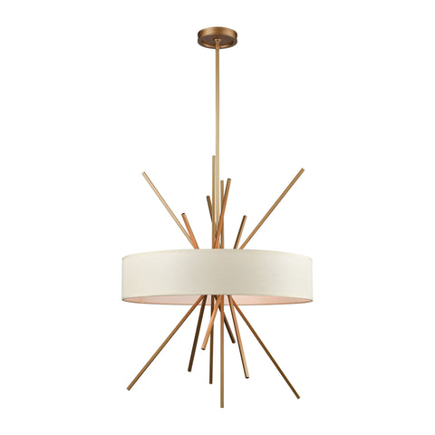 Xenia 5 Light Chandelier In Matte Gold With Beige Fabric Shade