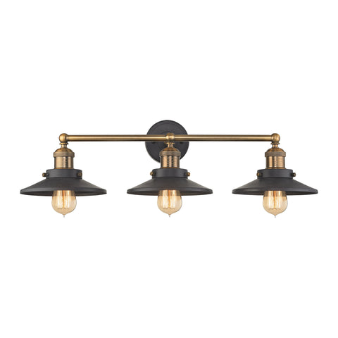 English Pub 3 Light Vanity In Tarnished Graphite And Antique Brass