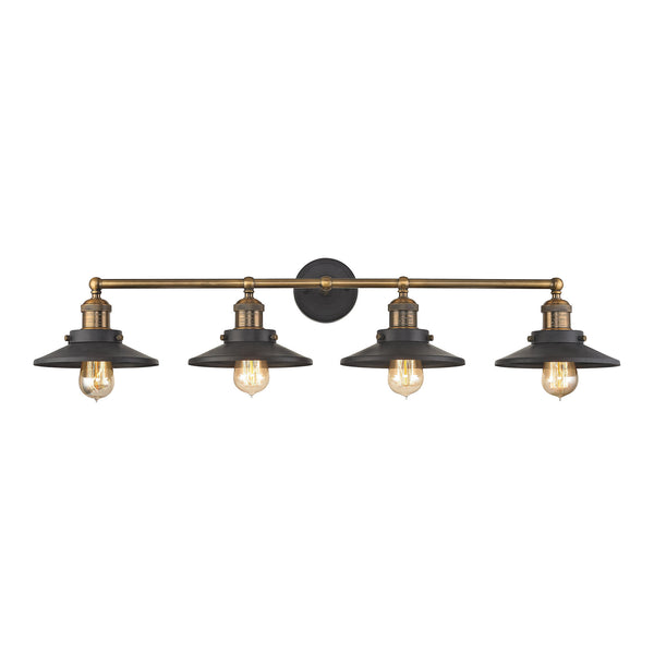 English Pub 4 Light Vanity In Tarnished Graphite And Antique Brass
