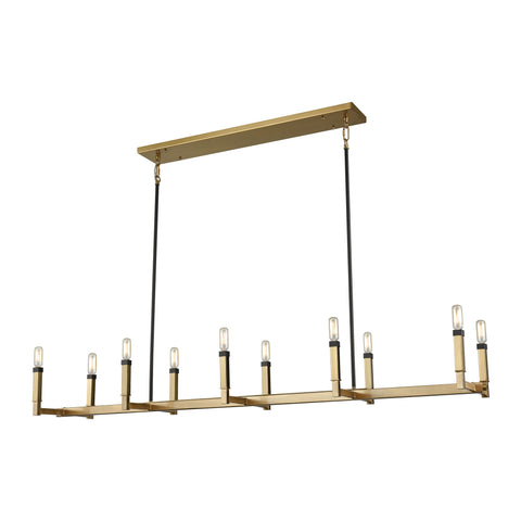 Mandeville 10 Light Chandelier In Satin Brass With Oil Rubbed Bronze Accents