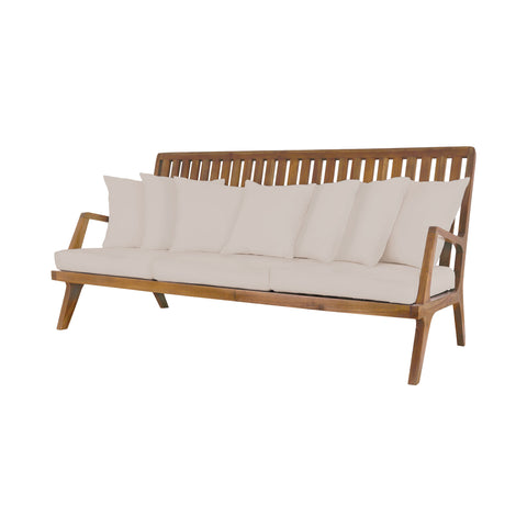 Beautiful GuildMaster  Teak Sofa in Euro Teak Oil with set of 10 Outdoor Cream Cushions  in  Teak, Acrylic Fabric