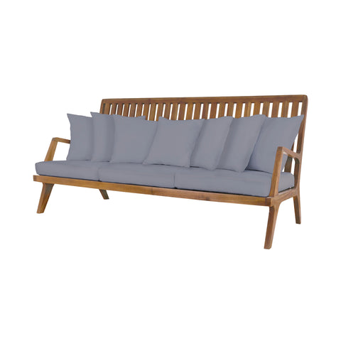 Beautiful GuildMaster  Teak Sofa in Euro Teak Oil with set of 10 Outdoor Gray Cushions  in  Teak, Acrylic Fabric