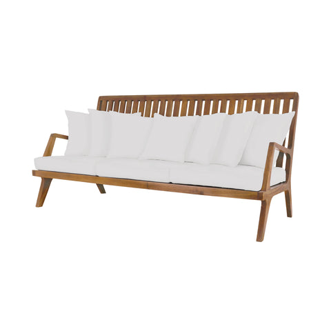 Beautiful GuildMaster  Teak Sofa in Euro Teak Oil with set of 10 Outdoor White Cushions  in  Teak, Acrylic Fabric