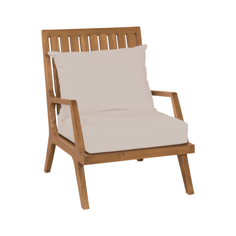 Beautiful GuildMaster  Teak Patio Lounge Chair in Euro Teak Oil with set of 2 Outdoor Cream Cushions  in  Teak, Acrylic Fabric