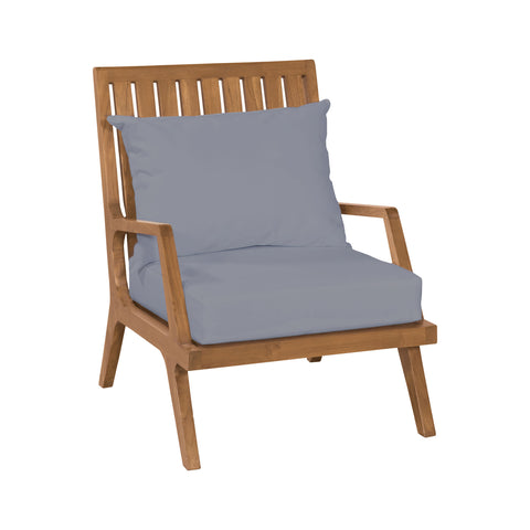 Beautiful GuildMaster  Teak Patio Lounge Chair in Euro Teak Oil with set of 2 Outdoor Gray Cushions  in  Teak, Acrylic Fabric