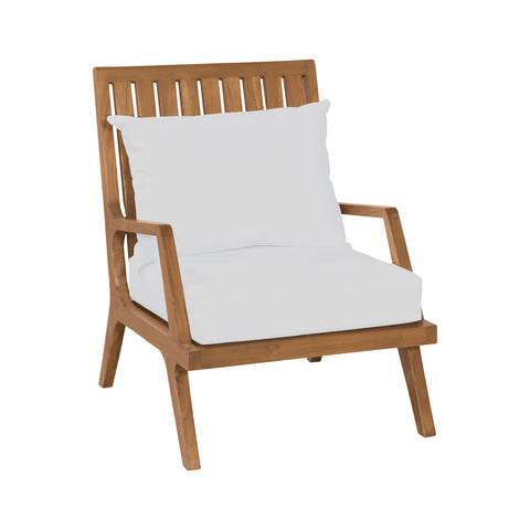 Beautiful GuildMaster  Teak Patio Lounge Chair in Euro Teak Oil with set of 2 Outdoor White Cushions  in  Teak, Acrylic Fabric