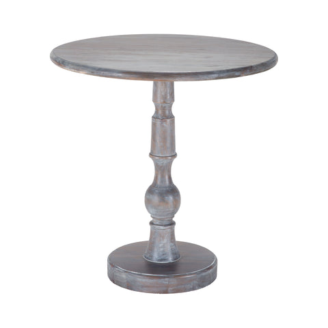 Beautiful Sterling  Acanthus Post Side Table In Waterfront Grey Stain With White Wash  in  Solid Mahogany