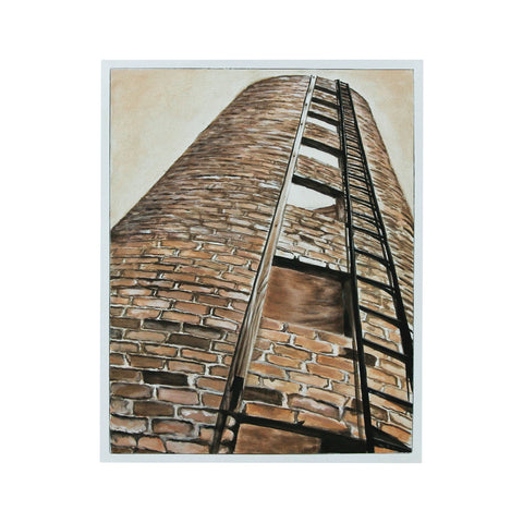 Beautiful Sterling  Abandoned Silo  in  Mahogany, Hand Stretched Canvas