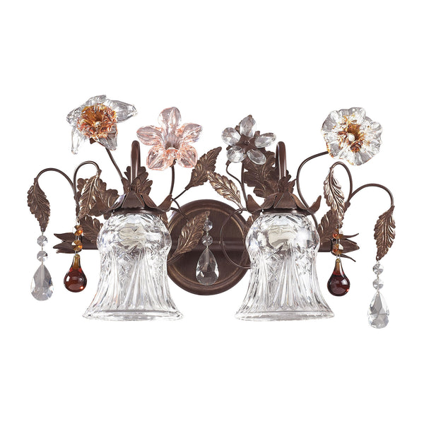 Cristallo Fiore 2 Light Vanity In Deep Rust With Crystal Florets