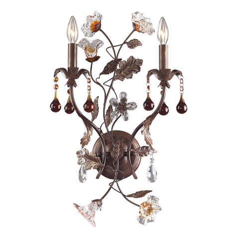 Cristallo Fiore 2 Light Wall Sconce In Deep Rust With Crystal Florets