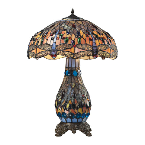 Dragonfly Tiffany Glass Table Lamp in Tiffany Bronze.