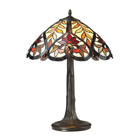 Beautiful Dimond Lighting Brimford Tiffany Glass Table Lamp in Tiffany Bronze