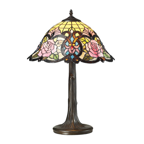 Rosedale Tiffany Glass Table Lamp in Tiffany Bronze