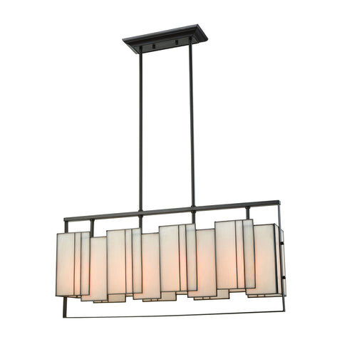 Stratus 4 Light Chandelier In Oil Rubbed Bronze With Bone Tiffany Glass