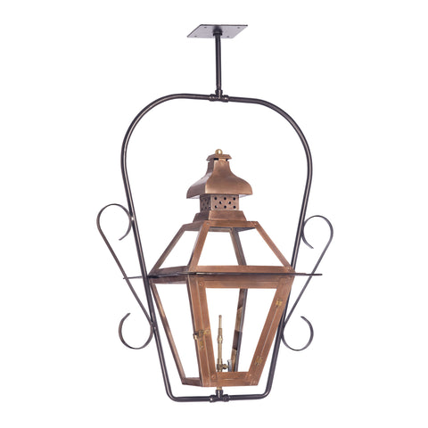 Bayou Outdoor Gas Ceiling Lantern In Aged Copper