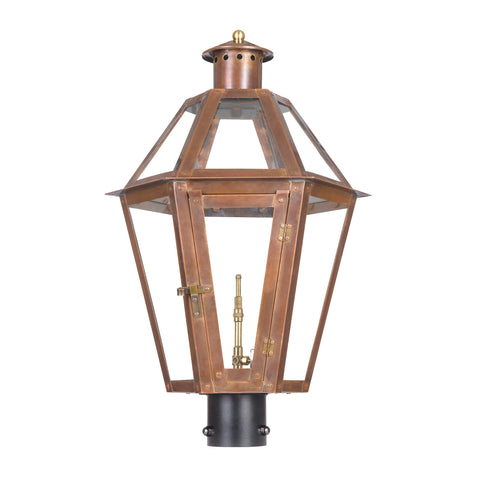 Elk Grande Isle Outdoor Gas Post Lantern In Aged Copper Outdoor Post item number 7922-WP