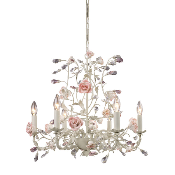 Heritage 6 Light Chandelier In Cream With Pink Porcelain Accents