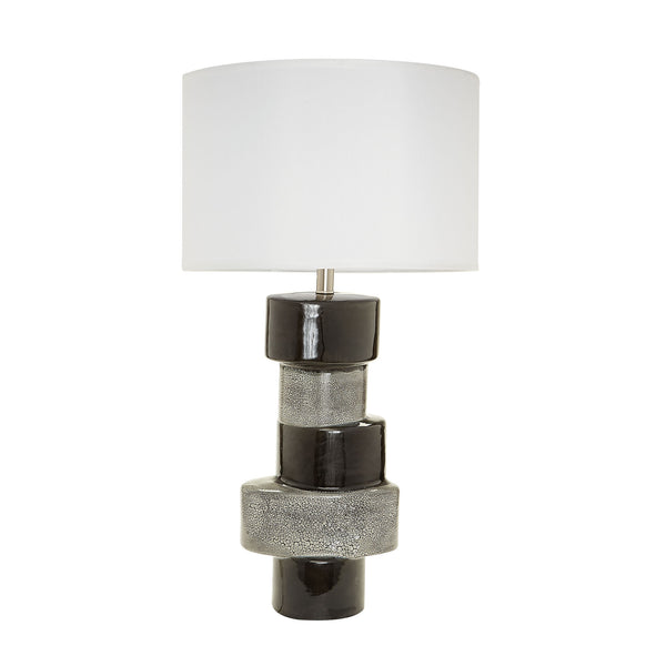 Beautiful Dimond Home  Gray And Black Stacked Ovals Table Lamp  in  Earthenware