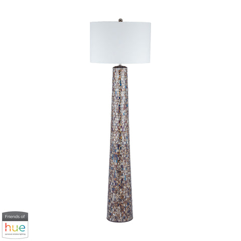 Beautiful Dimond Lighting  Byzantion Floor Lamp - with Philips Hue LED Bulb/Dimmer  in  Linen, Mosaic Glass