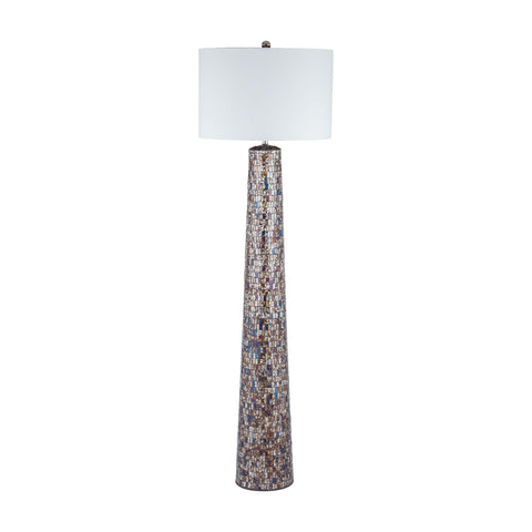 Beautiful Dimond Lighting  Byzantion Floor Lamp  in  Mosaic Glass, Linen