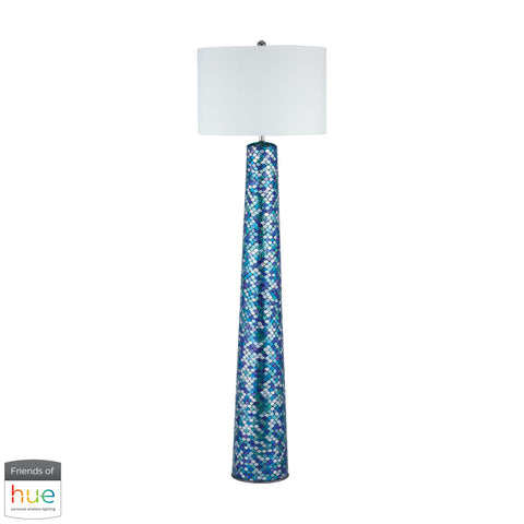 Beautiful Dimond Lighting  Aphrodisia Floor Lamp - with Philips Hue LED Bulb/Bridge  in  Linen, Mosaic Glass