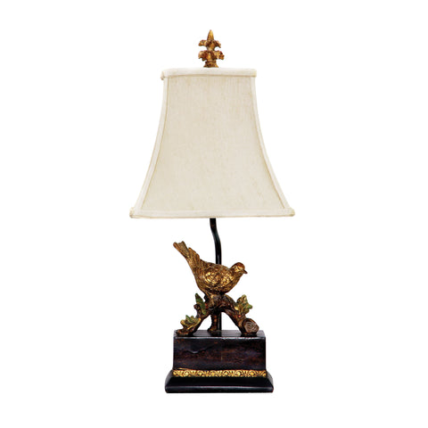 Beautiful Dimond Lighting Perching Robin Table Lamp in Gold Leaf And Black